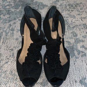 TOPSHOP Suede, Ruffle t-strap heel